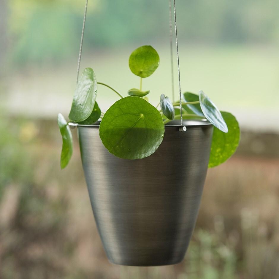 Spun steel hanging pot cover antique pewter