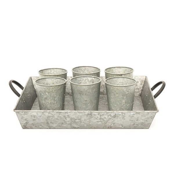 Galvanised rectangular tray with blackened handles
