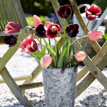 Galvanised cut flower pot with black handles