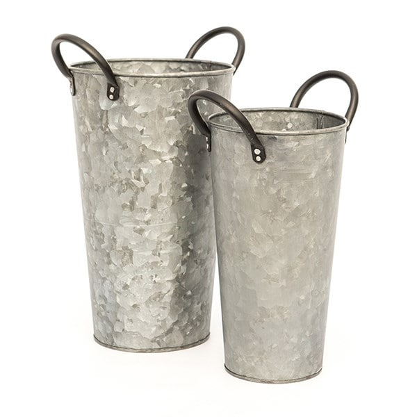 Galvanised flower bucket