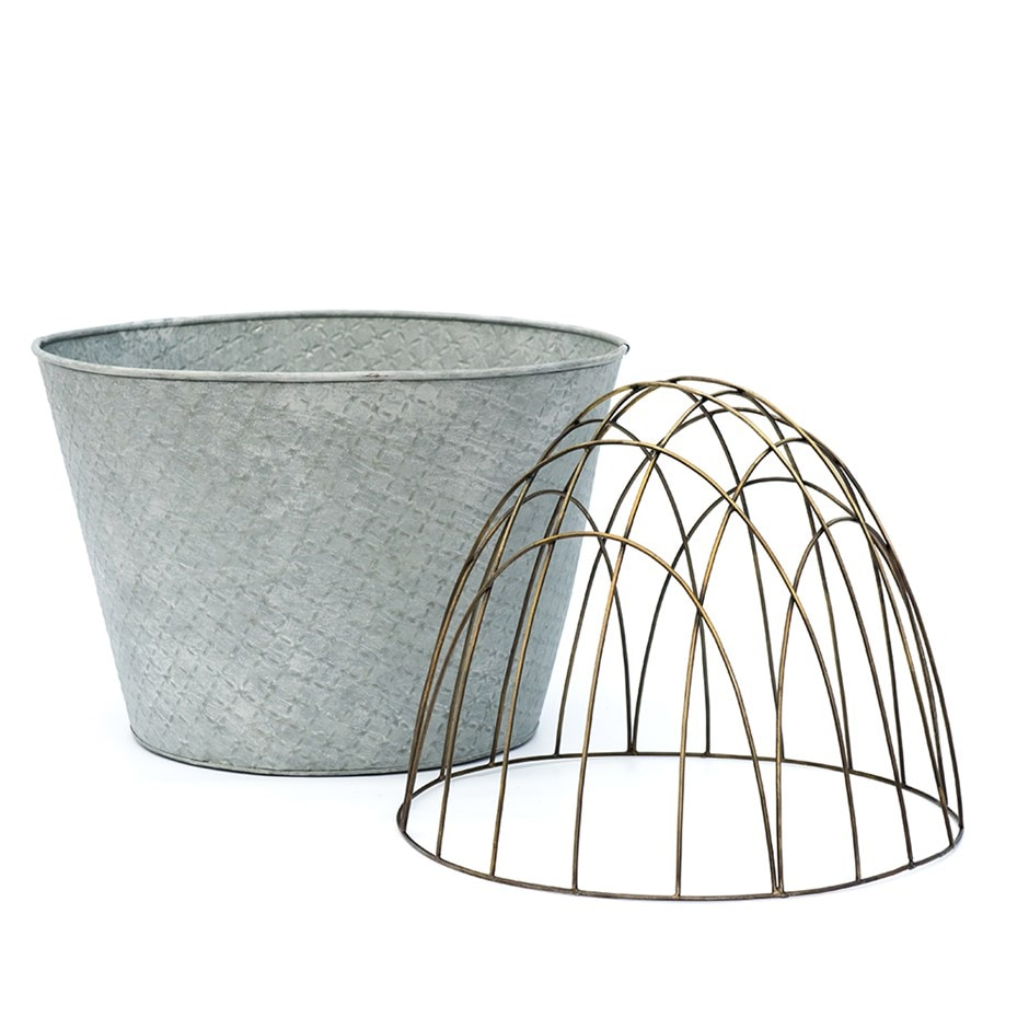 Aged embossed galvanised planter with dome support