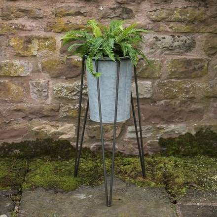Tall galvanised planter with stand
