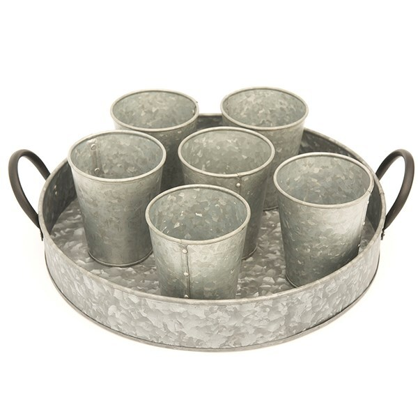 Galvanised round tray with blackened handles