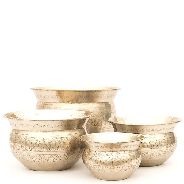 Silver plated brass etched bowl
