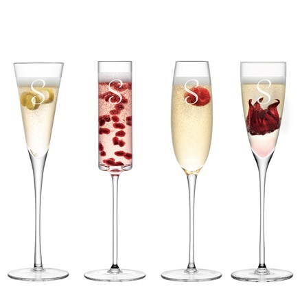 Personalised LSA champagne flutes set of 4