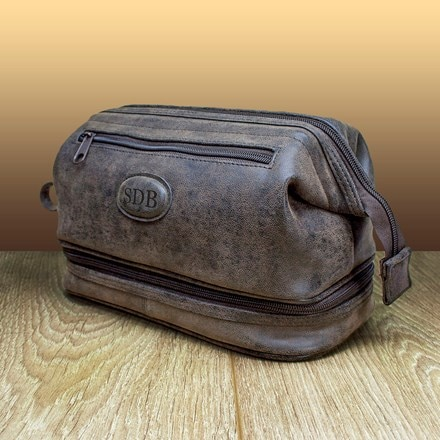 Personalised expandable suede textured wash bag