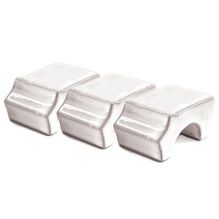 RHS white glazed pot feet - set of 3