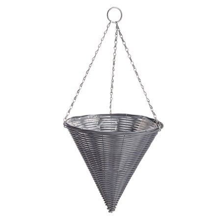 Rattan effect dark grey hanging cone