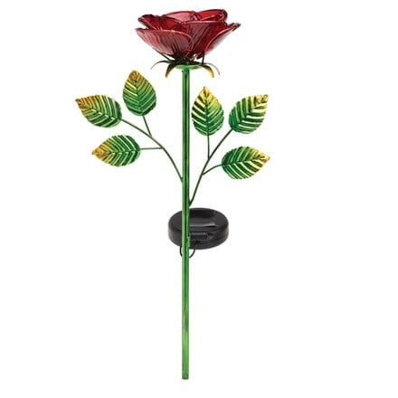 Solar rose stake light