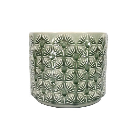 Green fan ceramic pot cover