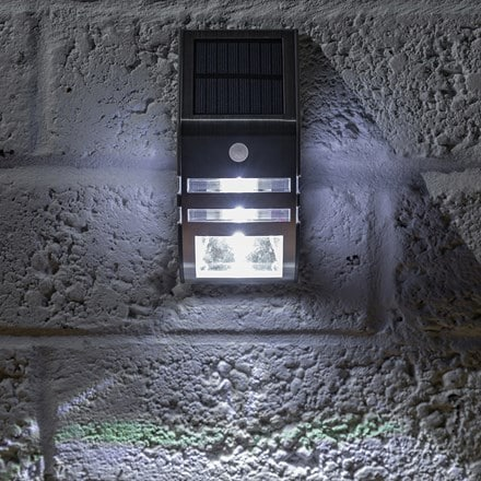 Solar security wall light