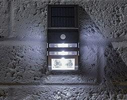 Solar security wall light