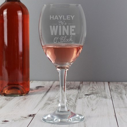 Personalised wine o'clock engraved wine glass