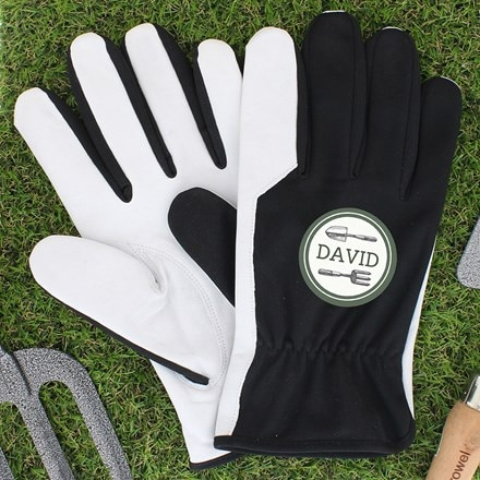Personalised garden tools large black gardening gloves