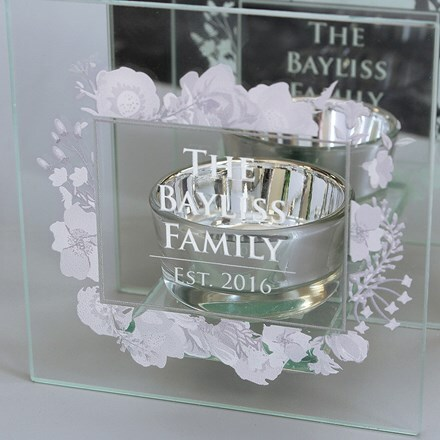 Personalised soft watercolour mirrored glass tealight holder
