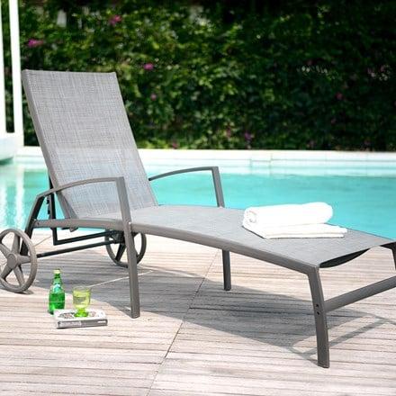 Lifestyle Garden Solana textilene wheeled lounger - 1 left
