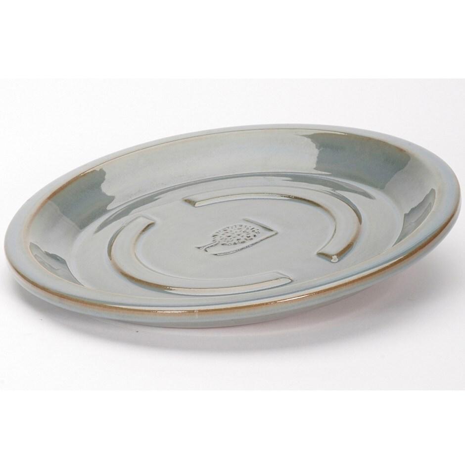 RHS antique grey round saucer