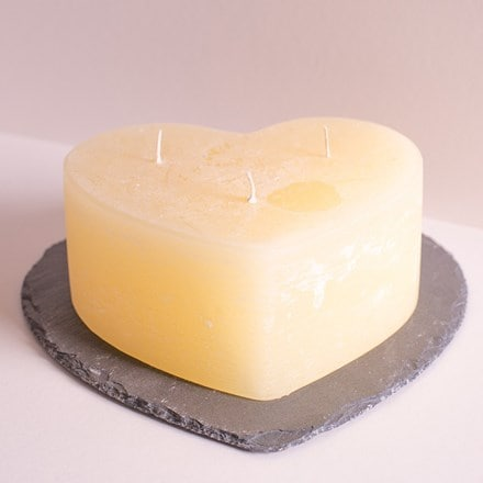 Multiwick unfragranced ivory heart candle