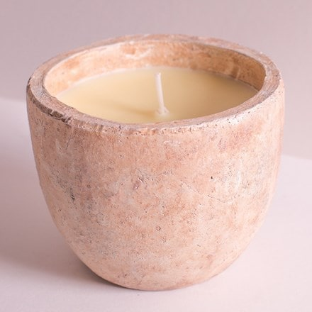 Tuscan stone outdoor planter candle
