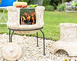 Star flower small two piece grill chimenea