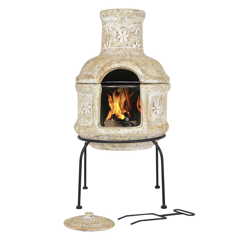Buy star flower small two piece grill chimenea delivery - Chimeneas star ...