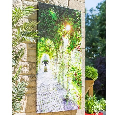 Outdoor canvas covered path