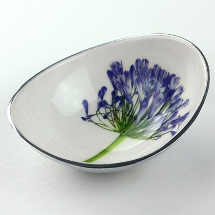 Recycled agapanthus oval bowl - small