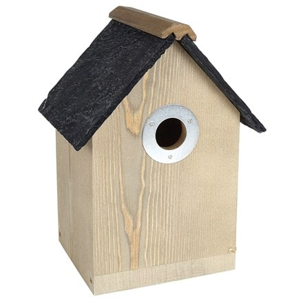 Bird box with slate effect roof