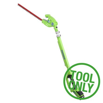 Cordless Greenworks G24PH51 24V long reach hedge trimmer - tool only