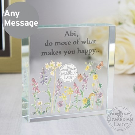 Personalised country diary wild flowers large crystal token