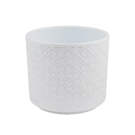 Flower embossed white planter