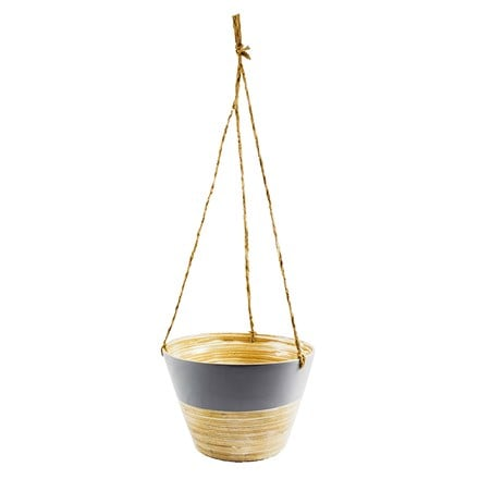 Hanging bamboo planter grey