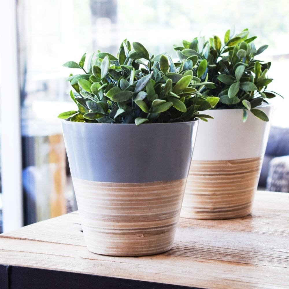 Bamboo planter grey