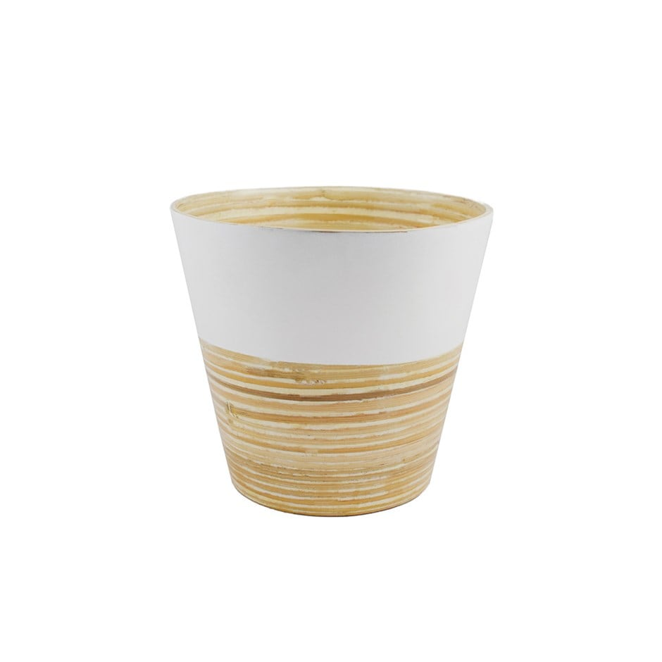 Bamboo planter white