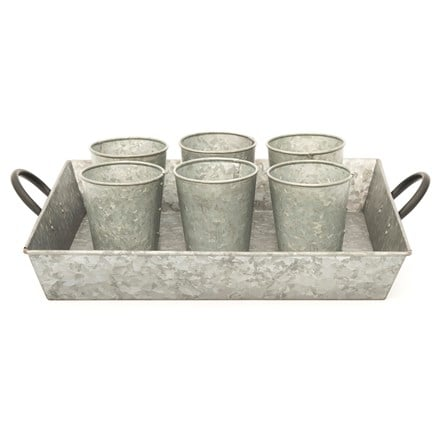 Galvanised rectangular tray with grow pots