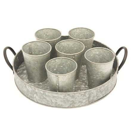 Galvanised round tray with grow pots