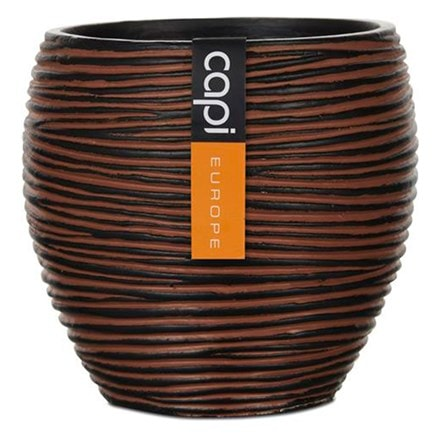 Vase elegant rib III brown