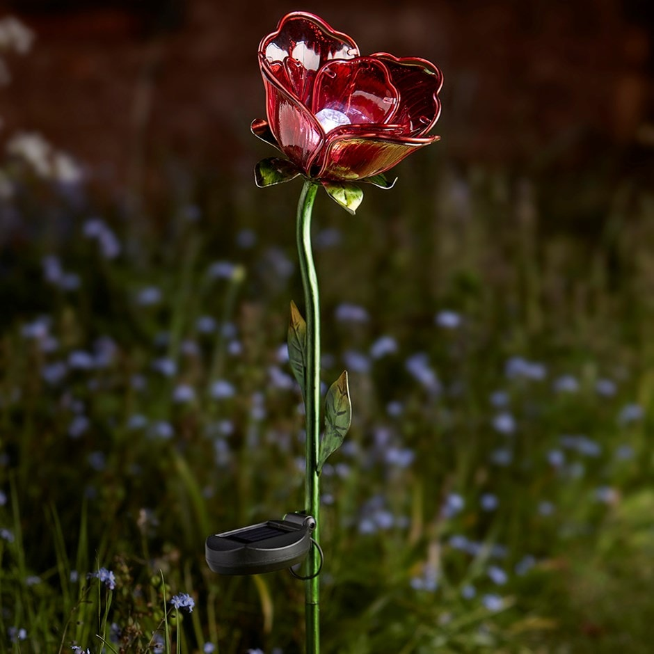 Buy Solar Red Rose Stake Light Delivery By Waitrose