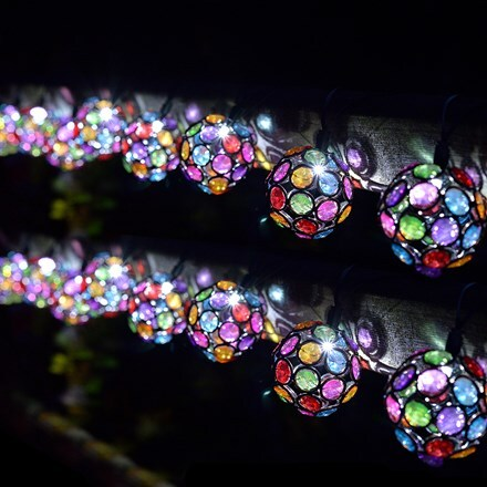 10 solar multi glow gem lights