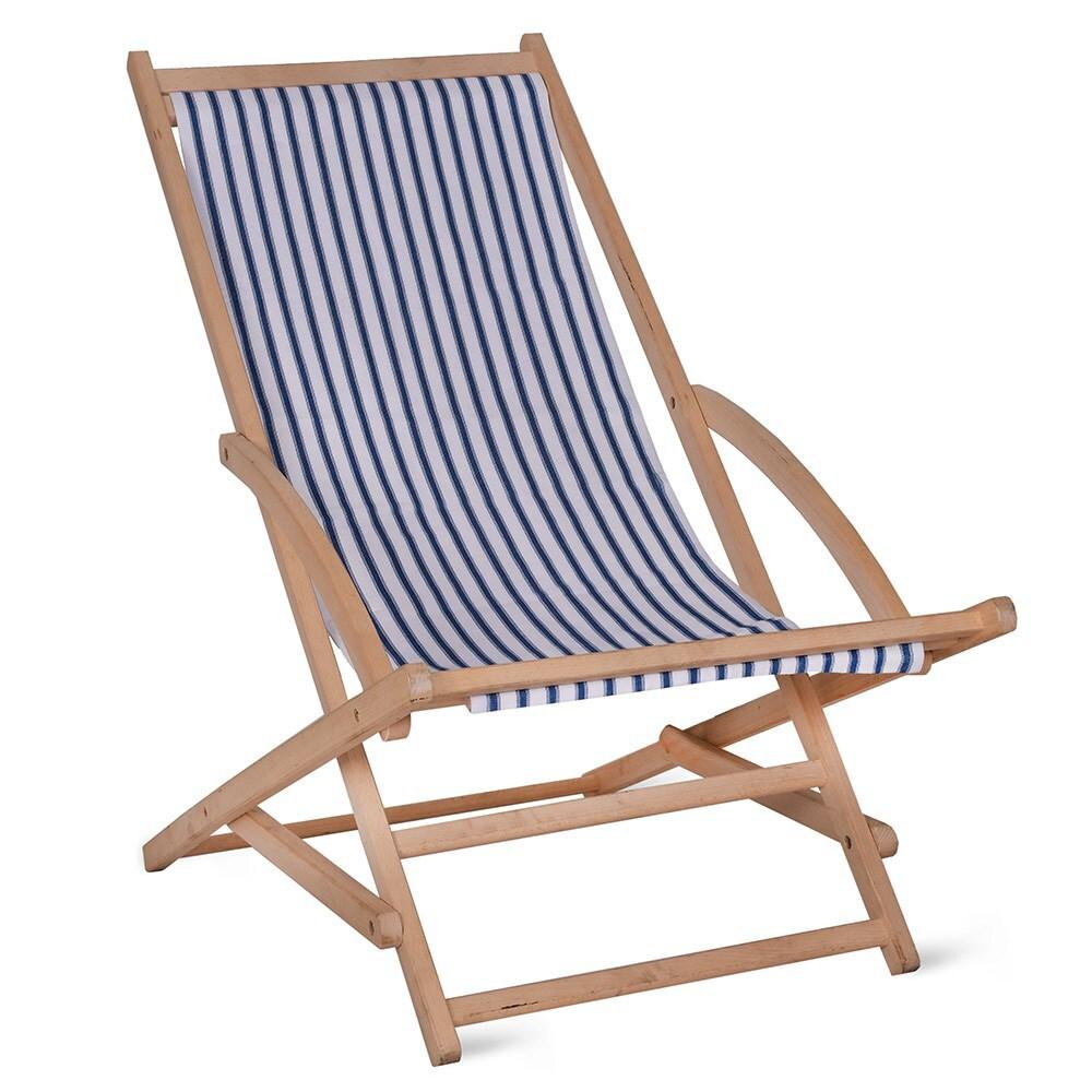 Rocking deck chair in blue stripe
