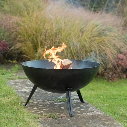 Iron fire pit bowl with cast iron tripod base + FREE fire starter dome
