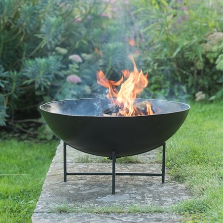 Iron fire pit bowl with cross base + FREE fire starter dome