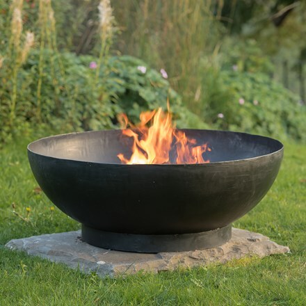 Large iron fire pit bowl + FREE fire starter dome