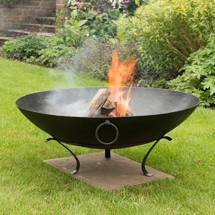 Iron disc fire pit bowl with tripod base + FREE fire starter dome