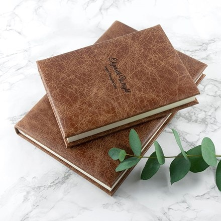Personalised engraved natural tan leather notebook