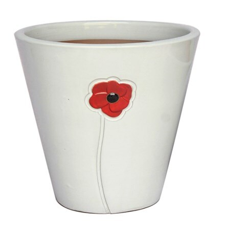 White glazed poppy pot