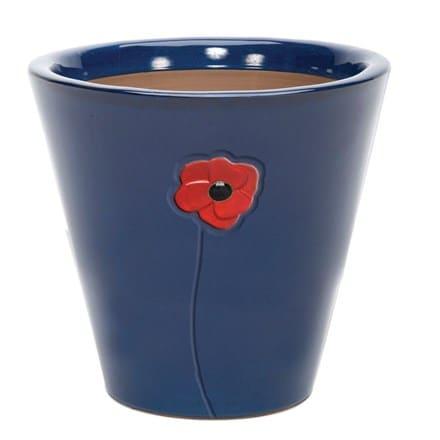 Blue glazed poppy pot