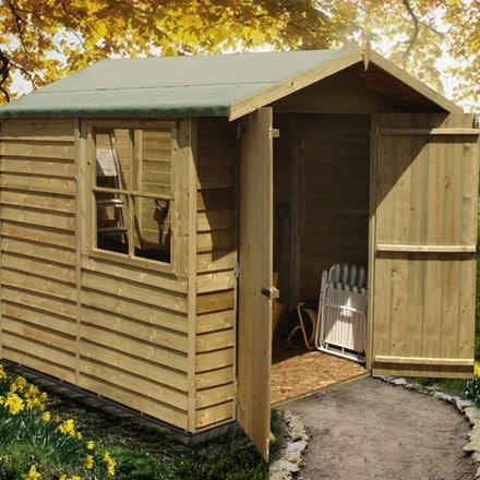 Pressure treated overlap double door shed 7 x 7