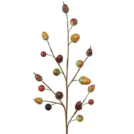 Artificial acorn/berry spray 47cm