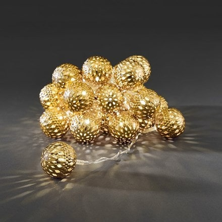Metal ball light set - gold